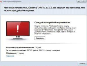 истек срок действия лицензии антивирусной программы