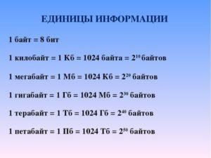 Таблица перевода единиц