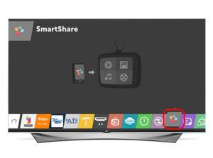 На телевизоре открыть меню и выбрать Smart Share