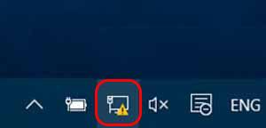 При появлении проблем с доступом в панели уведомлений будет гореть символ с желтым восклицательным знаком