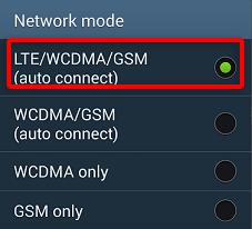 В данном разделе остановить выбор на пункте «LTE/WCDMA/GSM»