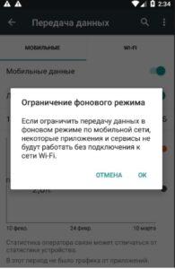 Запрет фоновых данных
