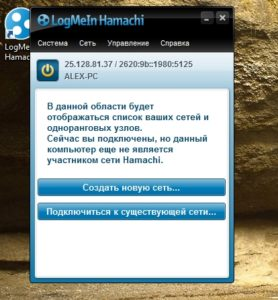 Главный интерфейс Hamachi