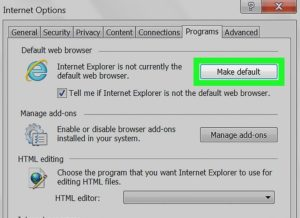 Кнопка «Использовать по умолчанию» для Internet Explorer