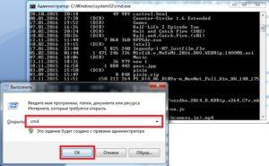 Ввод команд в строку системы Windows