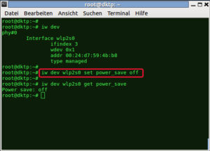 sudo iw dev wlan0 set power_save off
