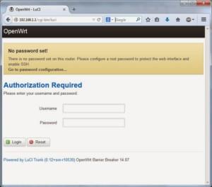 Системное сообщение о необходимости создания пароля при входе в панель OpenWRT
