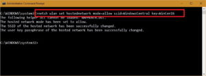 netsh wlan set hostednetwork mode