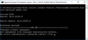 Проверка компонентов IE помощью командной строки
