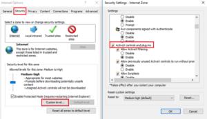 Включение технологии ActiveX на IE 11