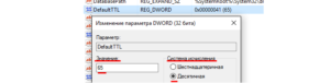 Изменение параметра ТТЛ на Виндовс
