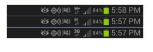 Разная скорость обозначается разными символами.