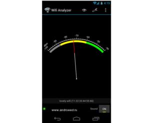 Виджет качества принимаемых сигналов, выполненный в виде спидометра со звуковым сопровождением