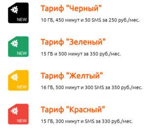Основные тарифы оператора