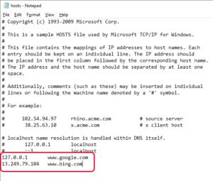 Редактирование файла host на компьютере