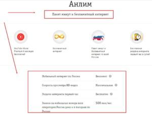 Услуги по тарифному плану «Анлим»